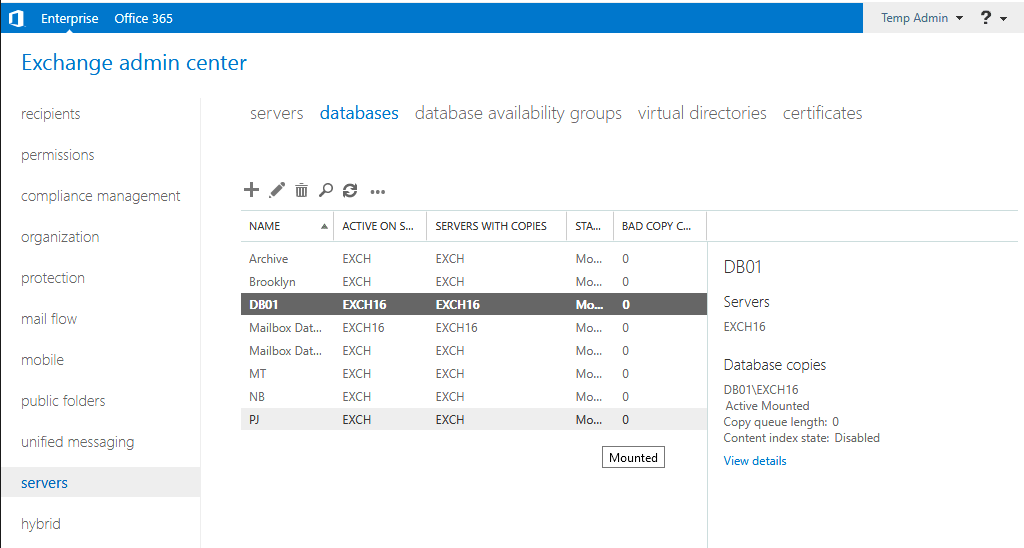 Exchange Server 2013/2016 Content-Index state Disabled